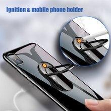 Creative Mobile Phone Holder Car Bracket Cigarette Lighter USB Charging Windproof Metal Lighter Smok