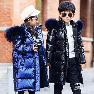 Image 5 - באיכות גבוהה בנות חורף חם לבן ברווז למטה מעילי Waterproof בני בגדי טבעי פרווה סלעית מעיל לילדים  30 parka