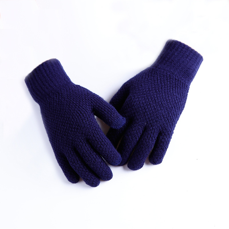 Soft Winter Warm Knitted Gloves Touch Screen Men Women Elastic Thicken Glove Solid Color Full Finger Mittens Guantes Invierno