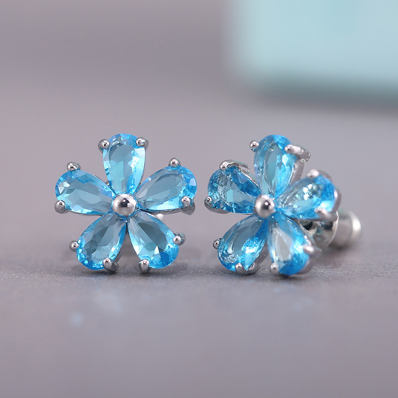 Модные простые серьги с цветами из циркония для женщин, украшения для ушей, Женские аксессуары, женские милые красочные серьги с кристаллам...