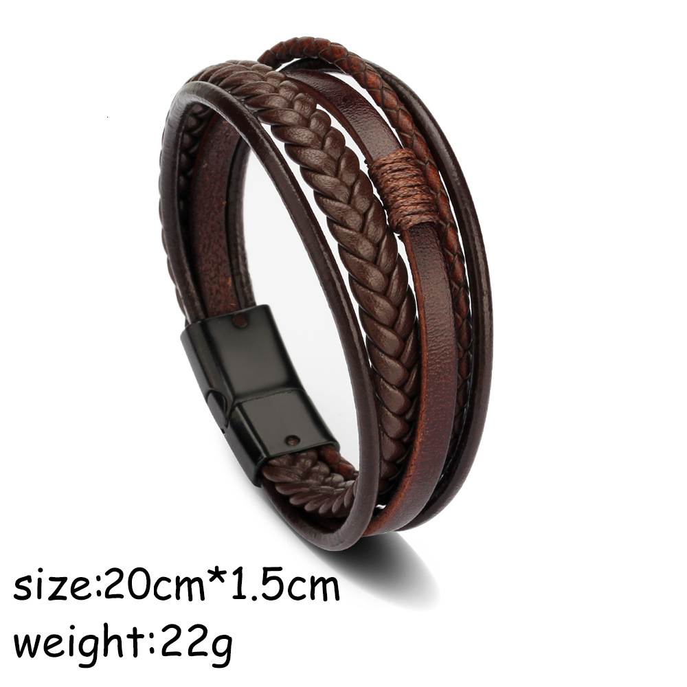 Wrap Multilayer Genuine Leather Bracelet Braided Rope Men/'s Fashion Jewelry WT