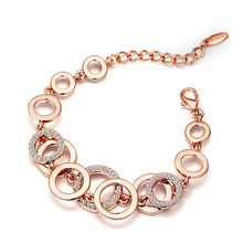 Viennois Rose Gold Circles Bracelet & Bangles For Women Rhinestones Paved Double Layer Round Female Wedding Jewelry 3 Colors(China)