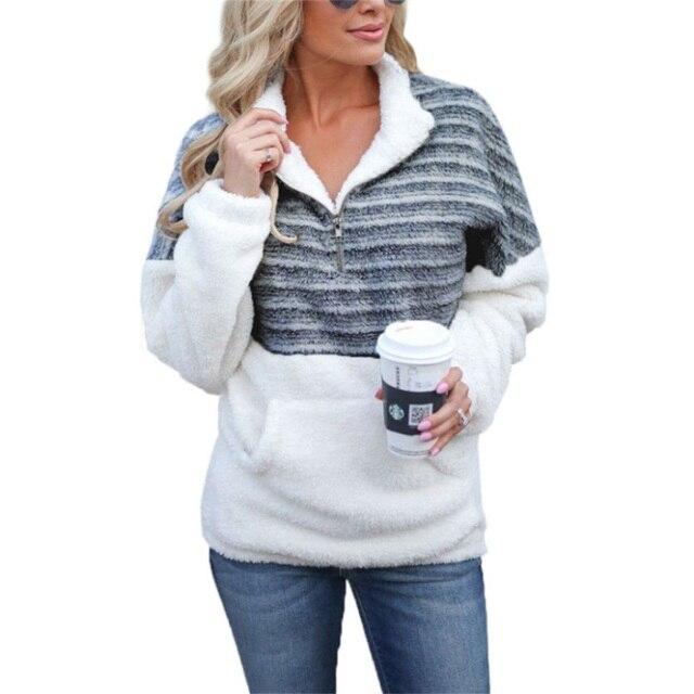 Женский толстый пуловер в полоску, теплый флисовый свитер большого размера 5XL на молнии, на осень и зимуВодолазки    АлиЭкспресс