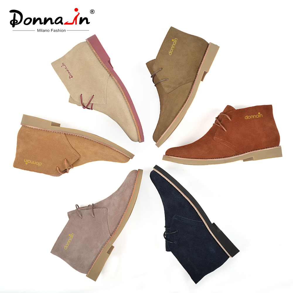 Donna-in Fashion Martin Boots Women Adult Autumn Spring 2019 Ankle Boots Suede Leather Lace-up Casual Low Heel Shoes Women