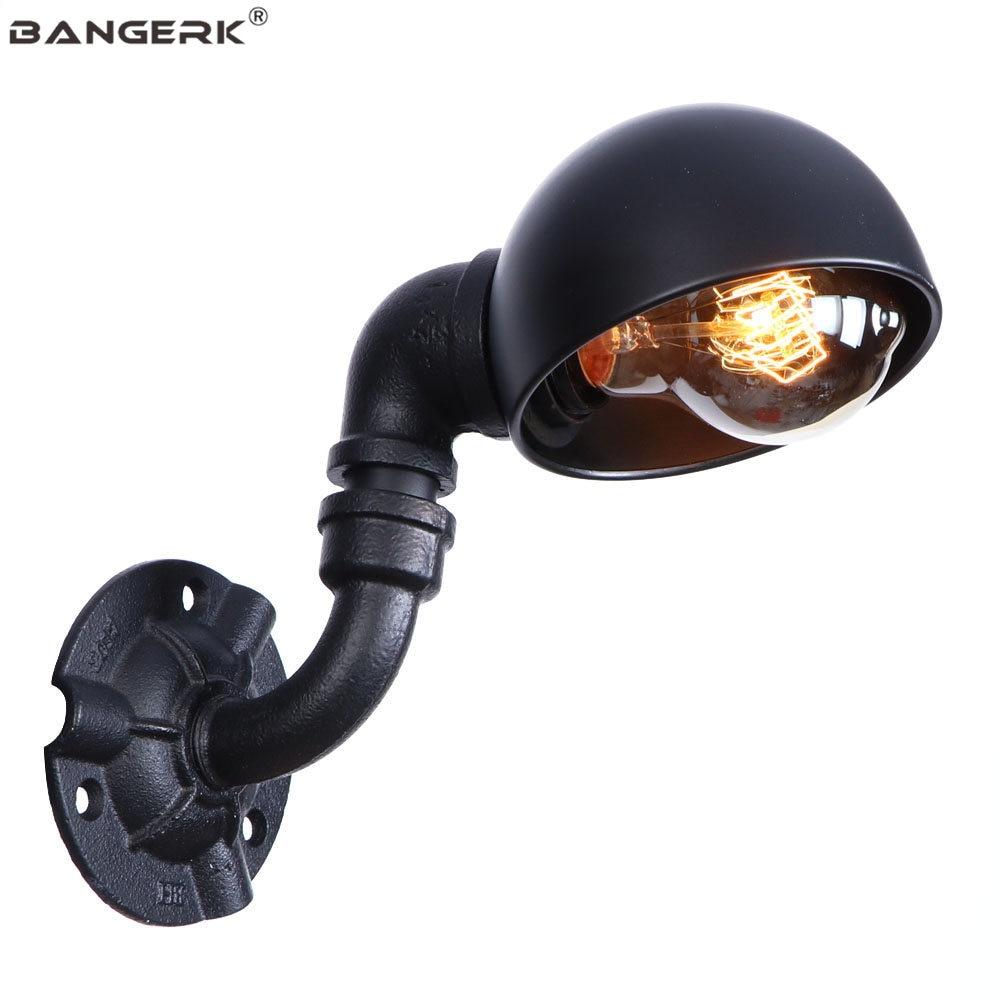 Vintage Edison Wall Sconce Single Head Black Iron Water Pipe Wall Lamp Retro Loft Decor LED Wall Light Home Lighting Luminaire
