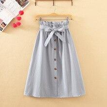 Womens Skirts Midi Knee Length Korean Elegant Button High Waist Skirt Female Pleated School Skirt