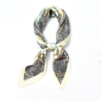 Square  Crinkle Silk Scarf Women Loop pattern Crumple Neck Wear Pleated Girl Handkerchief Foulard Shawl Lady`s Wraps