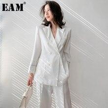 [EAM] pantalon jambe large loisirs deux pièces costume nouveau revers à manches longues coupe ample femmes mode marée printemps été 2021 1W5110