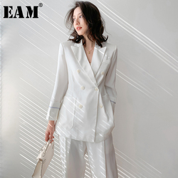 [EAM] Wide Leg Pants Leisure Two Piece Suit New Lapel Long Sleeve Loose Fit Women Fashion Tide Spring Summer 2021 1W5110