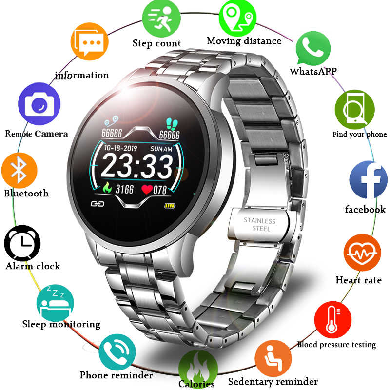 LIGE موضة ساعة ذكية الرجال النساء جهاز مراقبة اللياقة الرياضية ل أندرويد ios معدل ضربات القلب ضغط الدم رصد مقاوم للماء smartwatch