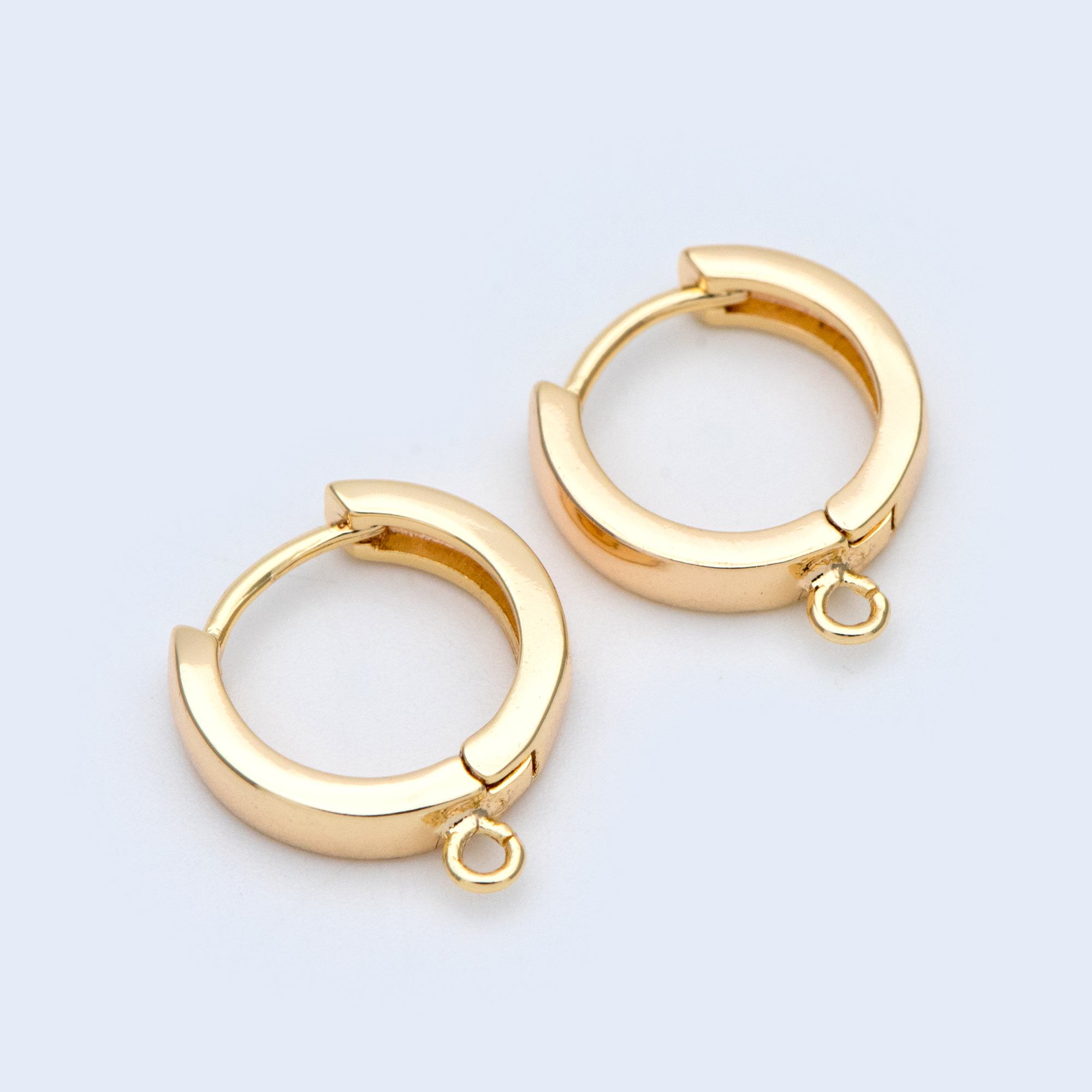 10pcs Round Leverback Earring Hooks 15x17mm, 18K Gold Plated Brass Earwire, Quality Earring Findings Wholesale (GB-989)