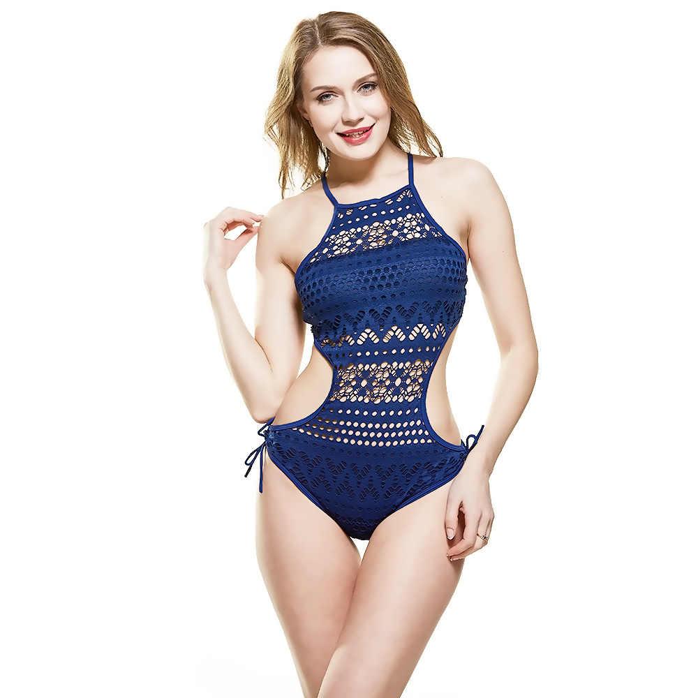 Novo maiô sexy de uma peça feminino com renda, roupa de banho com alça biquíni, 2020