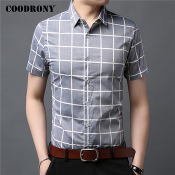 COODRONY Brand Cotton Shirt Men Fashion Plaid Camisa Masculina Spring Summer Short Sleeve Business Casual Shirts Clothes C6025S coodrony men shirt spring summer short sleeve casual shirts cotton fashion plaid camisa masculina with pocket mens dress c6008s