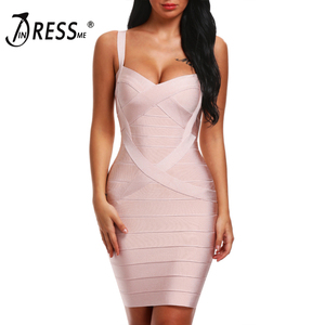 Image 1 - INDRESSME 2020 Bandage Dress Sexy Mini Spaghetti Strap Bodycon Strapless Club Party Summer Lady Dresses Femme Vestidos