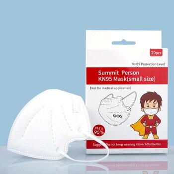 20 piezas KN95 para niños, mascarilla facial protectora de 4 capas, transpirable y a prueba de polvo, máscara de niño y niña, Mascarillas Kn95