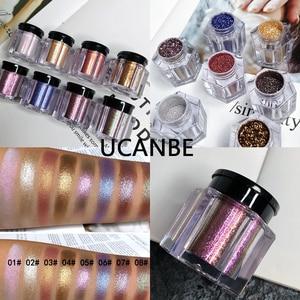 UCANBE Brand Crystal Luster Glitter Eyeshadow Powder Pigment Metallic Shiny Holographic Eye Toppers Single Eye Shadow Makeup