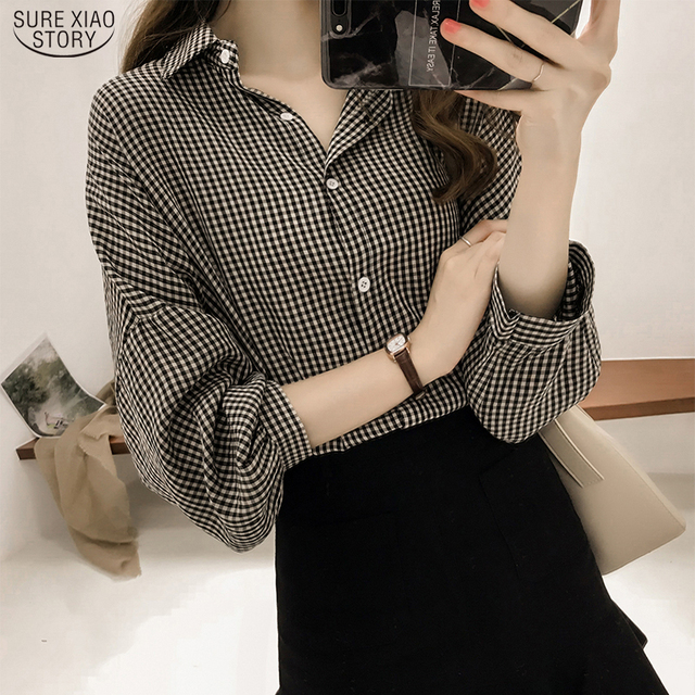 Korean Puff Sleeve Women Tops and Blouse 2021 Spring Plaid Shirt Women Plus Size Office Lady Blouse 4XL Clothes Blusas 8809 50 1