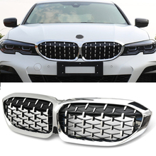 2pcs car racing grille for hyundai solaris 2 grill 2016 2018 emblems abs radiator sliver chrome front bumper upper replacement New Diamond Style Replacement Grille Car Front Bumper Grill Racing Grills For BMW G20 G28 2018-2020 Car Accessories