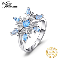 JewelryPalace Snowflake Genuine Blue Topaz Ring 925 Sterling Silver Rings for Women Silver 925 Gemstones Jewelry Fine Jewelry