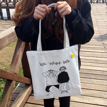 Ladies Handbags Canvas Tote Bag Cotton Cloth Shoulder Shopper Bags for Women 2020 Eco Foldable Reusable Shopping Bags Grocery 5
