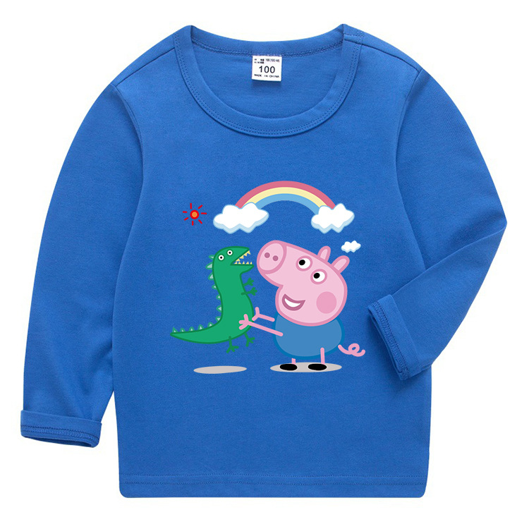 Peppa Pig George Dinosaur Autumn Boys Baby Children Polo Print T-shirts Long Sleeve Sport T Shirt Toddler Costume Clothing 1-8Y