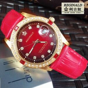 Image 5 - Женские кварцевые часы с большим циферблатом, красные светящиеся модные золотистые наручные часы с кожаным ремешком, Полностью украшенные ювелирными изделиями, 2019
