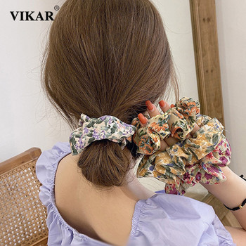 VIKAR Women Elegant Print Flowe Cloth Elastic Hair Bands Ponytail Holder Scrunchie Rubber Bands Hair Ropes Lady Hair Accessories iteso 2020 new crystal women hair ties girls elastic hair bands ponytail holder scrunchie rubber bands lady hair accessories