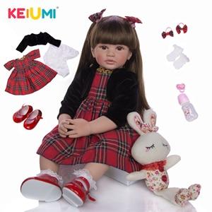 KEIUMI Fashion Long Hair Princess Reborn Boneca 60 cm Stuffed Reborn Baby Doll Silicone Elegant Kids Playmate For Children's Day(China)