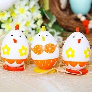 3 pçs/set Bonito Decoração de Ovos de Páscoa Ovo de Páscoa Caça Jogo Dress Up Jardim Desenho DIY Decoração do Quarto Sala de estar