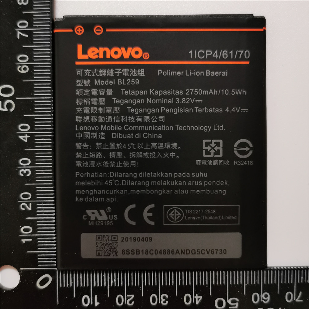 100% Original Tested 2750mAh BL259 For Lenovo Lemon 3 3S K32C30 K32c36 Vibe K5 / K5 Plus / A6020a40 A6020 A40 A 6020a40 Battery