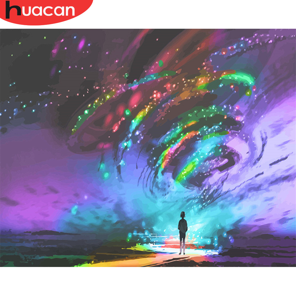HUACAN DIY Painting By Numbers Light Landscape Paint Sky Wall Art Picture Coloring Arts Abstract