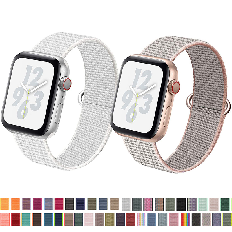 Band For Apple Watch 5 4 40MM 44MM 3 2 1 38MM 42MM Nylon Soft Breathable Replacement Loo Strap For Iwatch Series Accessories