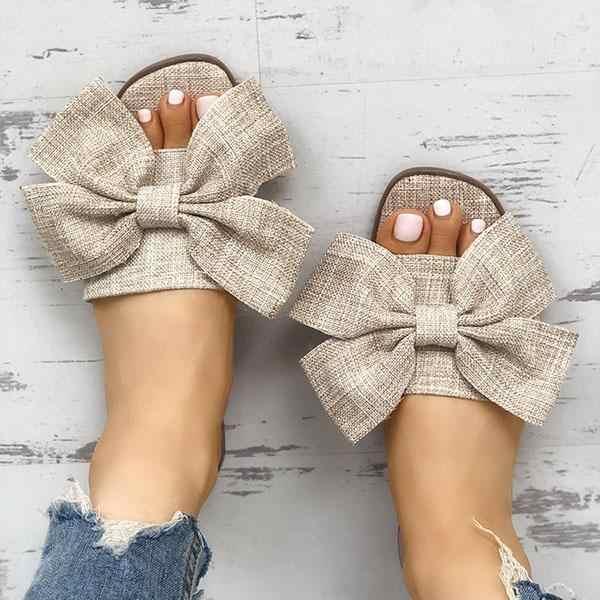 Yay yaz sandalet terlik kadın yaz plaj kapalı açık keten Flip-flop ayakkabı kadın moda çiçek ayakkabı