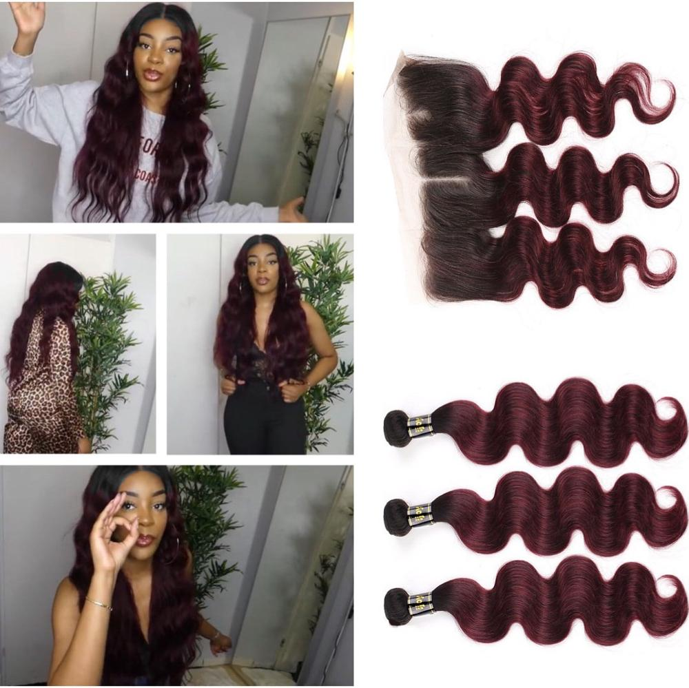 Ombre Body Wave Two Tones Human Hair Bundles With Frontal 4x13 Maroon 8-26inches Ombre Brazilian Hair With Frontal Non-Remy IJOY
