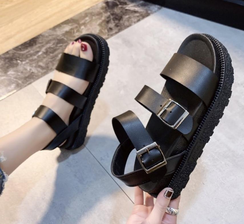 Летняя обувь; Женские сандалии на плоской платформе; Женские повседневные сандалии гладиаторы из мягкой кожи с открытым носком; Женская обувь на танкетке|Боссоножки и сандалии|   | АлиЭкспресс - Летние Сандалии С AliExpress