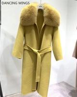 winter woolen coats for women 2019 Real Fox Fur Collar Double Side Wool Coat Female Jacket