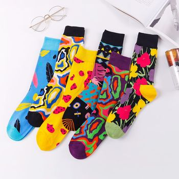 Long Socks Art Happy Socks  Printed Cotton Hip-hop Fashion Street Clothing Personality Popular in Europe and America terkel division street america pr only