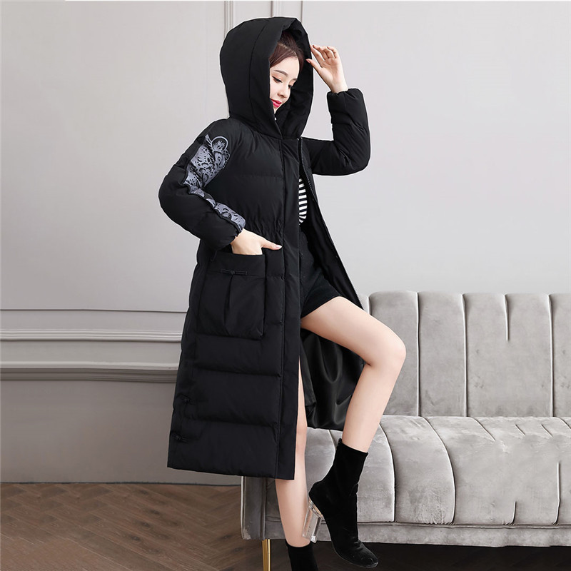 Retro Slim Down Cotton Women 2019 Autumn And Winter New Medium In Long Jacket Wild Casual Popular Hong Kong Style Cotton Coat568 - 4