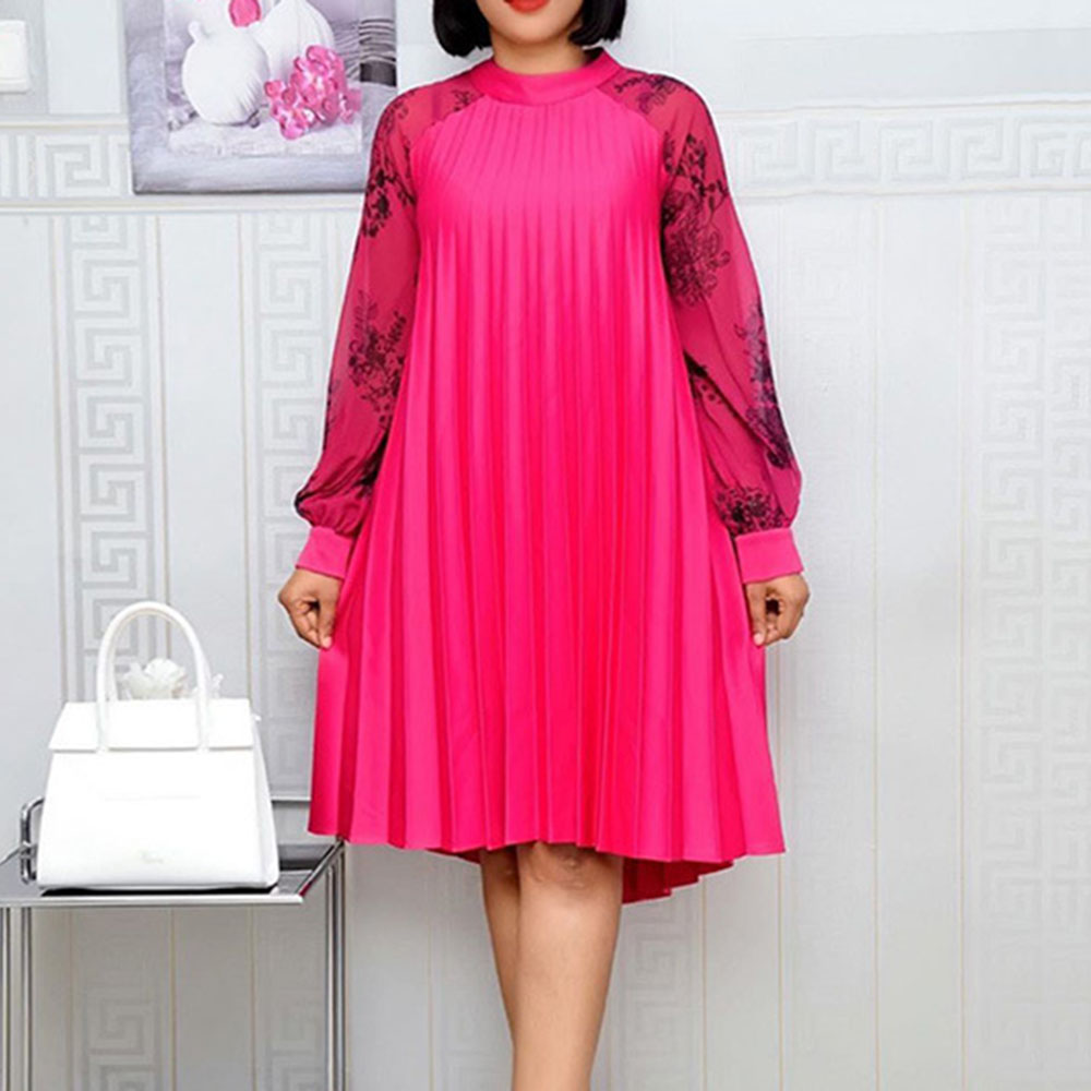 African Style Autumn Winter Long Sleeve Oversize Loose Chiffon Ladies Rose Red Office Work Wear Party Female Pleated Dress 2020