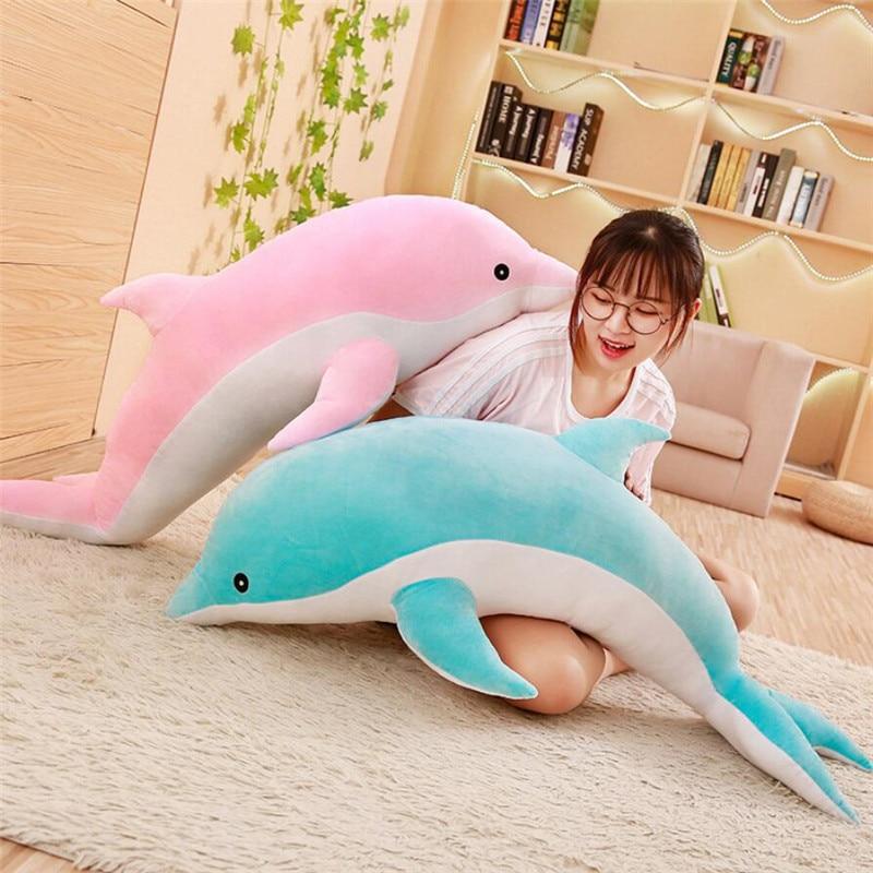 Large Plush Dolphin Toys Stuffed Sea Animal Cute Girls Dolls Soft Baby Sleeping Pillow Christmas Birthday Gift For Children