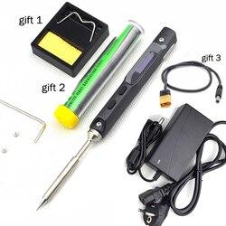 TS100 Mini soldador eléctrico Digital portátil, programable, con pantalla LCD, punta de repuesto Original de alta frecuencia + regalo