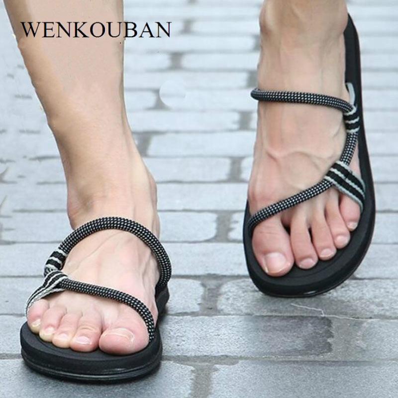 Sandals Men Sandalias Hombre Gladiator Sandals For Male Summer Roman Beach Shoes Flip Flops Slip On Flats Sandalia Masculina