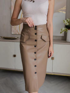 Mujer Faldas Wrapped-Skirts Multi-Button Femme Jupes Elengant Solid-Pockets High-Waist