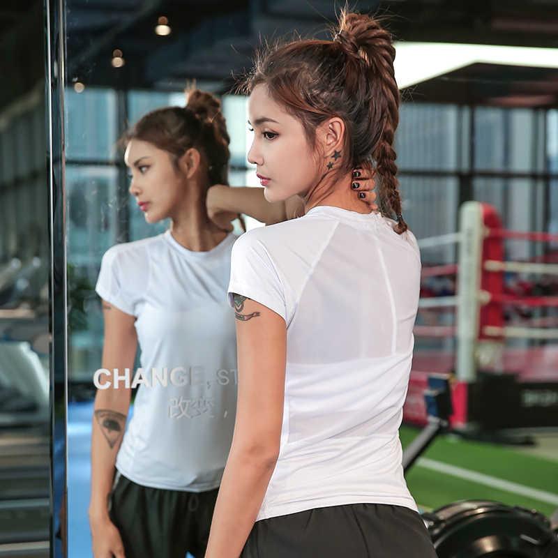 Veqking Mesh Patchwork Wanita Lari Cepat Kering Lengan Pendek Kebugaran Yoga Top bernapas Workout Gym Menjalankan TEE SHIRT