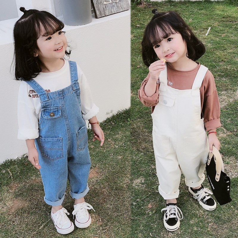Mihkalev Fashion 2020 autumn girls jumpsuit 3-9years baby girl denim overalls for kids jeans pants children trousers