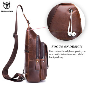 Image 4 - BULLCAPTAIN Genuine Leather Chest Back Pack chest bag men fashion Messenger bags Multifunctional card bages mobile phone bags