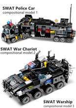 695pcs City Police Station Building Blocks Compatible SWAT Team Truck Educational Toy For Boys Children Gifts