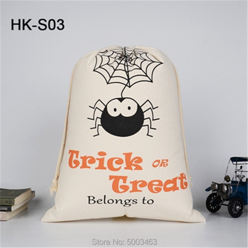 Wholesale Halloween Pumpkin Bag 50pcs/lot Halloween Sack Candy Drawstring Bag 9 Styles Sack Party Decoration Halloween Gift