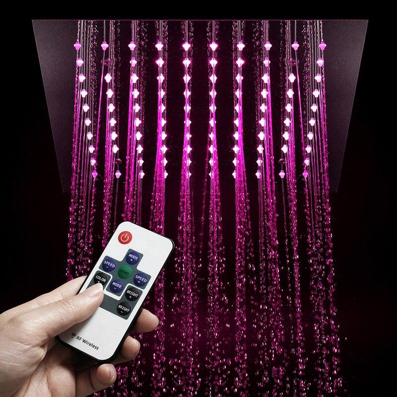 Lumière LED de luxe pluie 304 SUS pomme de douche 30cm encastré plafond monté en laiton robinets de douche ensemble bec robinet baignoire robinets - 3