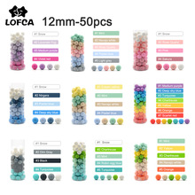 LOFCA 12mm 50pcs Silicone Loose Beads Baby Teether Round Baby Teething Beads DIY Chewable Colorful Teething For Infant